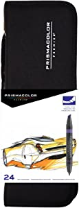 Prismacolor 97 Premier Double-Ended ArtMarkers, Fine and Chisel Tip, 24-Count with Carrying Case