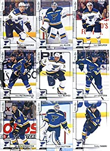 2017-18 O-Pee-Chee Hockey St. Louis Blues Team Set of 17 Cards: Patrik Berglund(#19), David Perron(#26), Paul Stastny(#45), Vladimir Tarasenko(#65), Jaden Schwartz(#161), Colton Parayko(#193), Alexander Steen(#207), Joel Edmundson(#216), Jay Bouwmeester(#