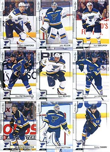 Louis Blues Team Set (2017-18 O-Pee-Chee Hockey St. Louis Blues Team Set of 17 Cards: Patrik Berglund(#19), David Perron(#26), Paul Stastny(#45), Vladimir Tarasenko(#65), Jaden Schwartz(#161), Colton Parayko(#193), Alexander Steen(#207), Joel Edmundson(#216), Jay Bouwmeester(#249), Robby Fabbri(#331), Carter Hutton(#341), Ryan Reaves(#355), Alex Pietrangelo(#365), Zach Sanford(#417), Jori Lehtera(#441), Nail Yakupov(#468), Jake Allen(#481))