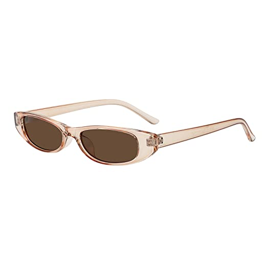 42770b5e437 WOWSUN Retro Vintage Bold Small Sunglasses for Women Fashion Narrow Oval  Frame (brown)