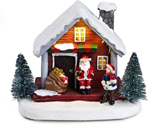Winter Snow Christmas Village Building Santa House - Christmas Decoration Light-Up Battery-Operated
