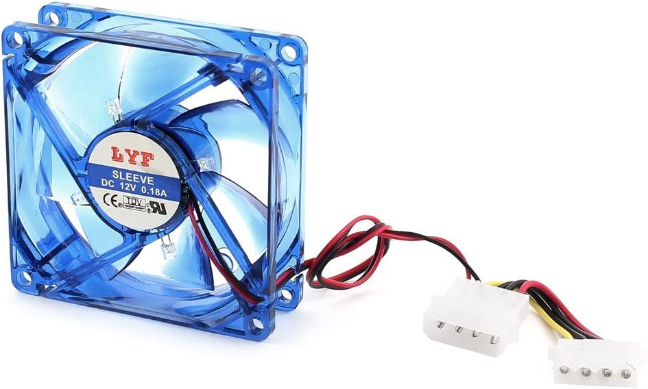 Collarín de embrague caja de la PC del ordenador LED azul del ventilador de refrigeración 4Pin 80x25mm 12V