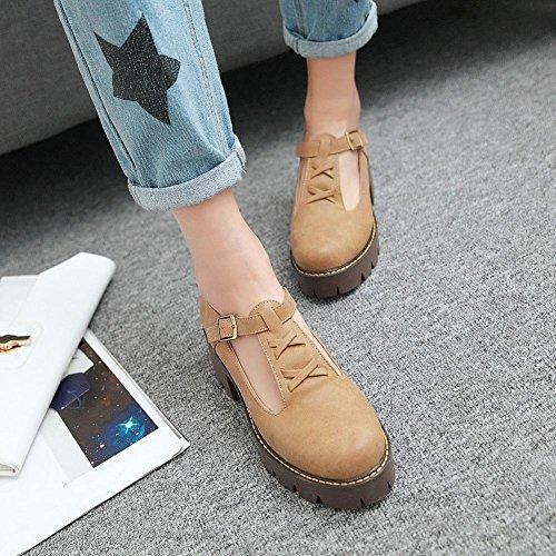strap Retro Mid Yellow Platform Shoes Court Western T Heel Carolbar Women's nFqCYTwxx1