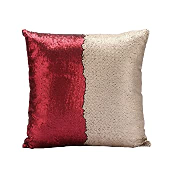 Homelava Fundas de Cojín DIY Cojín Lentejuelas Reversible Dos Colores 40 x 40 cm,Rojo + Champagne