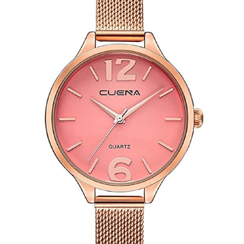 ScpinkRelojes de Cuarzo para Mujeres, Liquidación Relojes para Mujeres Relojes analógicos Correa de Malla de Acero Inoxidable Reloj de Regalo (Rosa): ...