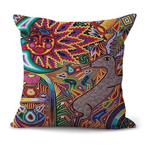 WholesaleSarong Huichol Mexican Tribal Artwork Cushion Cover Home Decoration Throw Pillow Cover Mexico Folk Art -