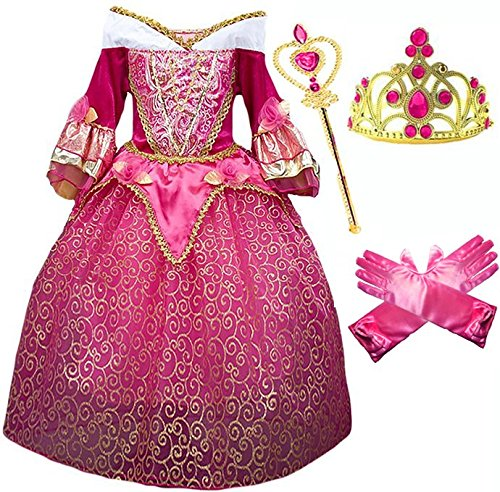 [Princess Aurora Deluxe Pink Party Dress Costume (4-5)] (Cinderella Costumes For Girl)