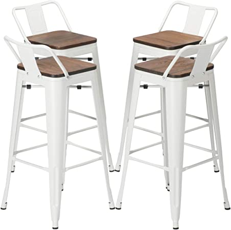 YongQiang Set of 4 Metal Barstools Home Kitchen Dining Counter Stool Low  Back Bar Chairs with Wood Seat 30 inch White