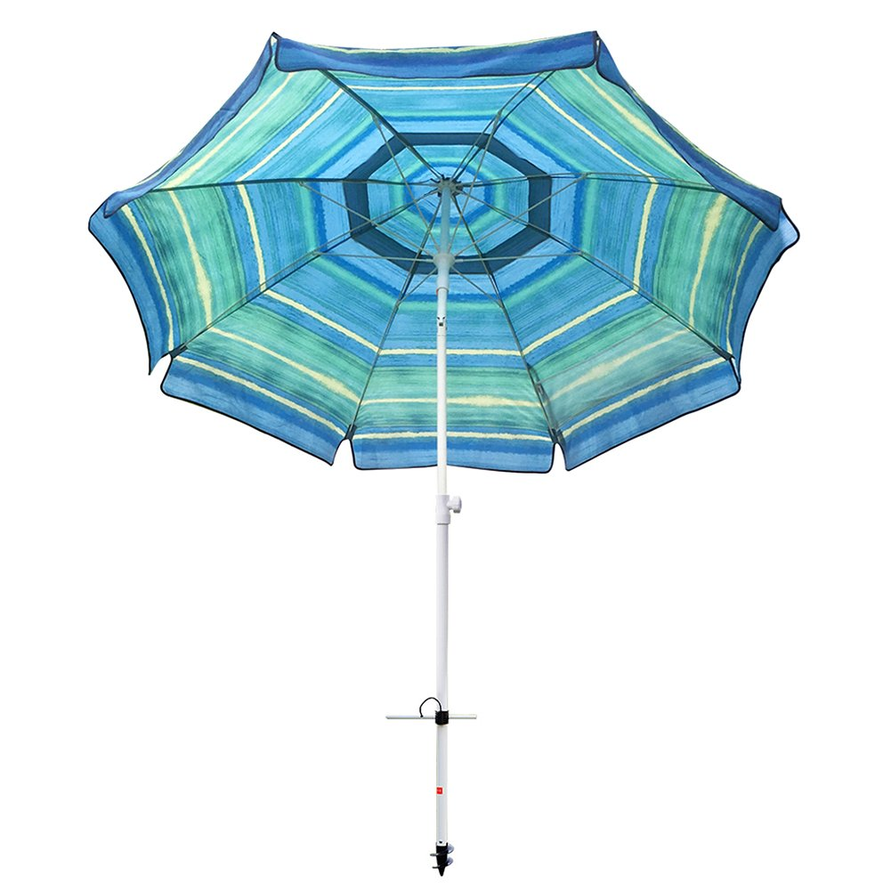 Abba Patio 7 Feet Beach Sand Anchor Push Button Tilt and Carry Bag Adjustable Height Fiberglass Rib Patio Umbrella, Striped Color