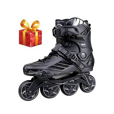 Sljj Outdoor Boy Motion Fitness Professional High-end Black Inline Skates,Comfortable Breathable Racing Skates for Youth and Beginner White (Color : Black, Size : 42 EU/9 US/8 UK/26cm JP): Home & Kitchen