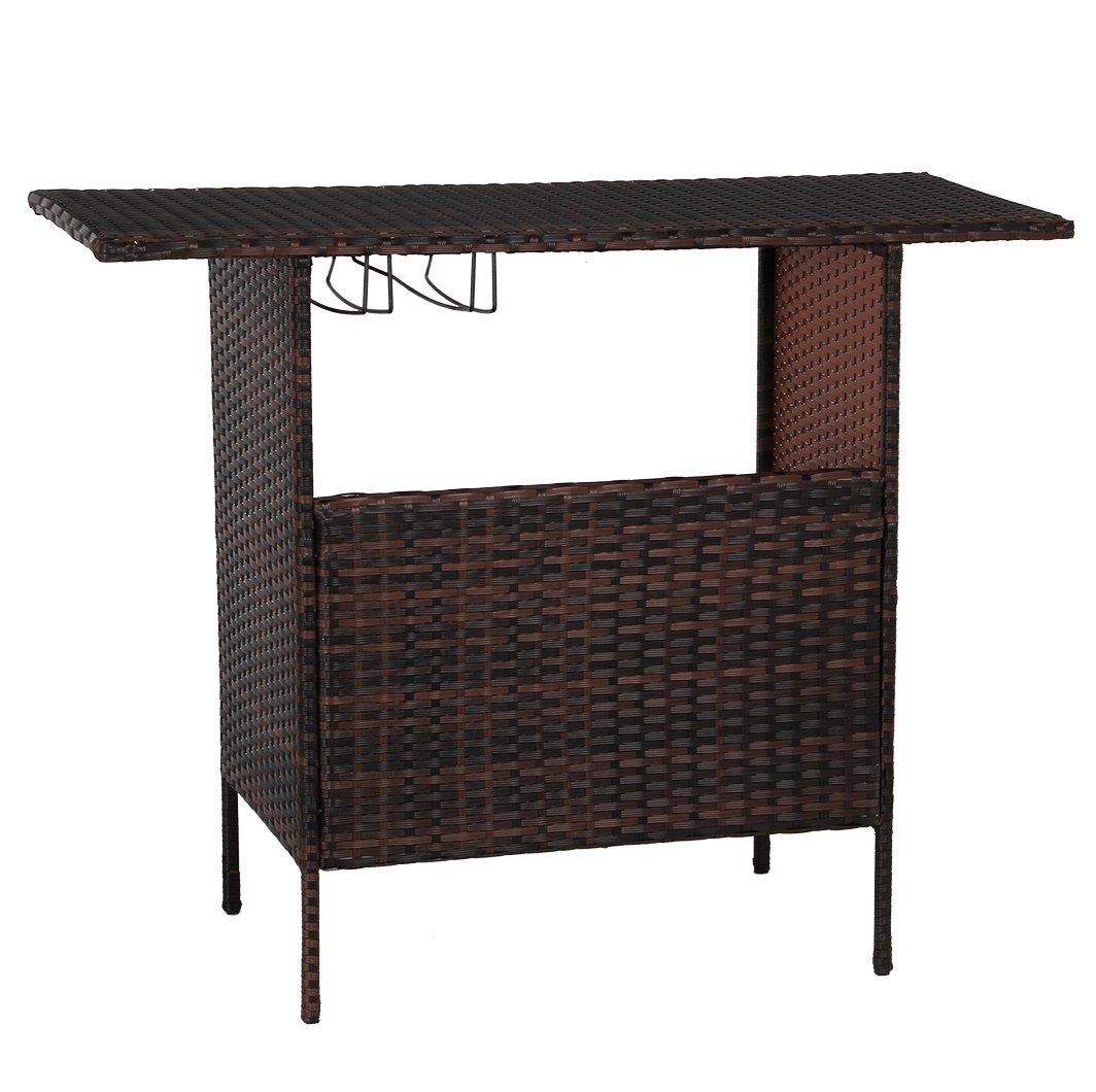 Esright Outdoor Rattan Wicker Bar Counter Table Shelves Garden Patio Furniture (Brown)