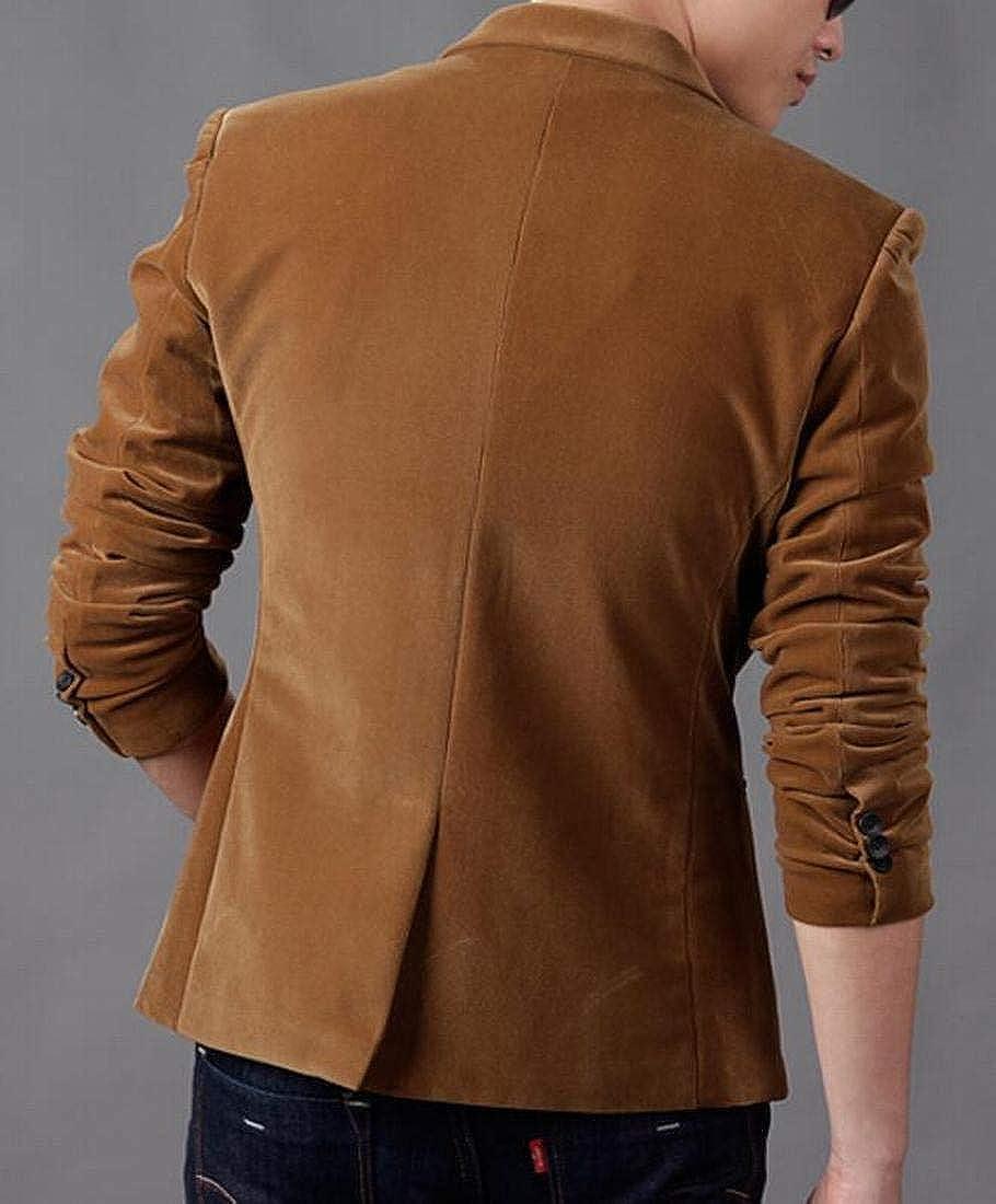 BYWX Men One Button Business Button Down Corduroy Dress Shirts