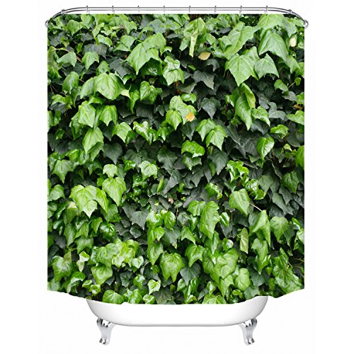 Red Fire 72 x 72 Inch Natural Green Leaf Polyester Fabric Shower Curtain Waterproof for Bathroom with 12 (Environmentally Friendly Fabric)
