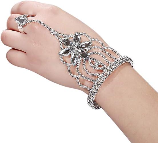 Womens Hand Slave Chain Finger Ring Bangle Harness Bracelet Beach Boho Silver