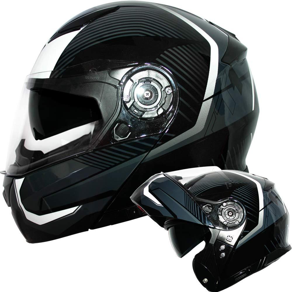 Matt Black M Leopard LEO-888 DVS Flip up Front Helmet Motorcycle Motorbike Helmet with DOUBLE SUN VISOR