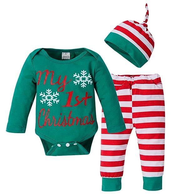 c61d50b5feb3 Xmas 3Pcs Set Newborn Baby Girl Boy Letters Print Top Romper+Pants+Hat  Outfits