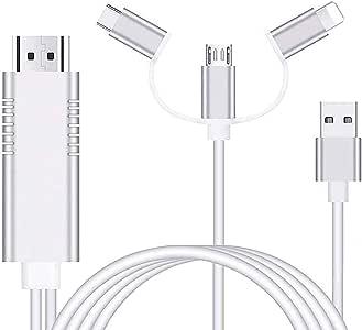 AMANKA Adaptador Cable HDMI,1080P Adaptador 3 in 1 AV Digital Convertidor Telefono a HDMI Adaptador para Teléfono a Monitor de Proyector de TV Compatible con Huawei/Samsung Galaxy Note/Sony y Más: Amazon.es: Electrónica