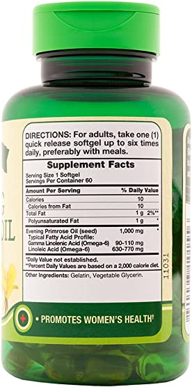 Nature s Truth Cold Pressed Evening Primrose Oil 1000 mg Capsules, 60 Count