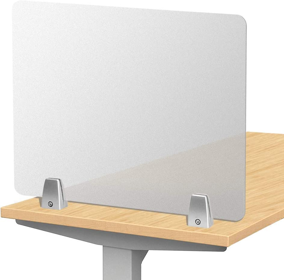 Creechwa Offices Partition Screen Frosted Desk Divider Protection Screen For Desk Desktop Privacy Panel Desk Protective Screen For Call Centers Libraries Classrooms Without Clip 50 40 Amazon Co Uk Kitchen Home