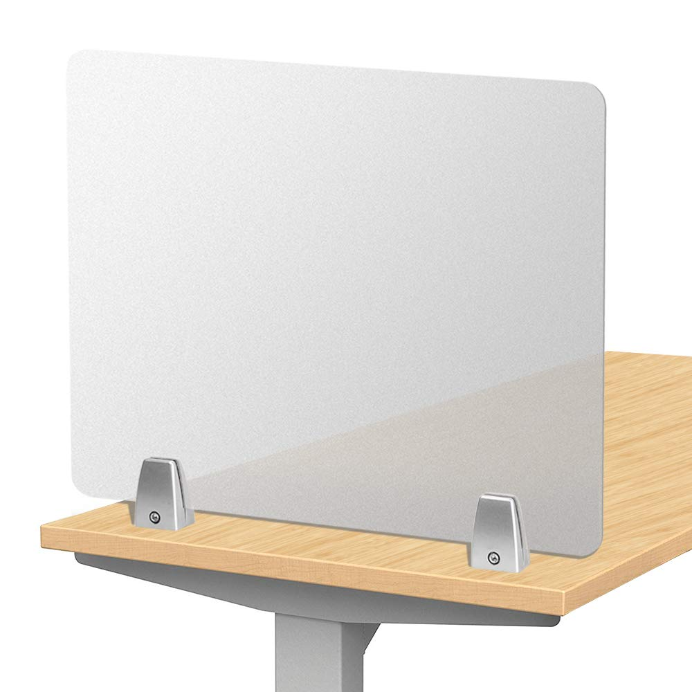 Owfeel Frosted Desk Divider Office Partition Privacy Desk Panel with 2pcs Desk Partition Clip for Student Call Centers/Offices/braries/Classrooms/Library Acrylic Privacy Board (20'' L×16'' W) by Owfeel