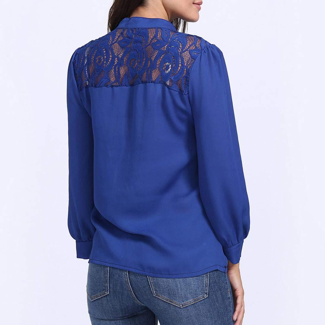 JiaMeng Camiseta para Mujer DE la Chaleco Top Blusa de Manga Larga con Cuello en V de Color Liso Blusas de Patchwork de Encaje con Estilo: Amazon.es: Ropa y ...