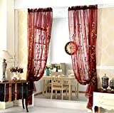 AliFish 1 Panel Elegant Embroidered Floral Rod Pocket Process Window Decorative Screening European Style Voile Window Sheer Curtains Panels for Living Room W52 x L63 inch Burgundy