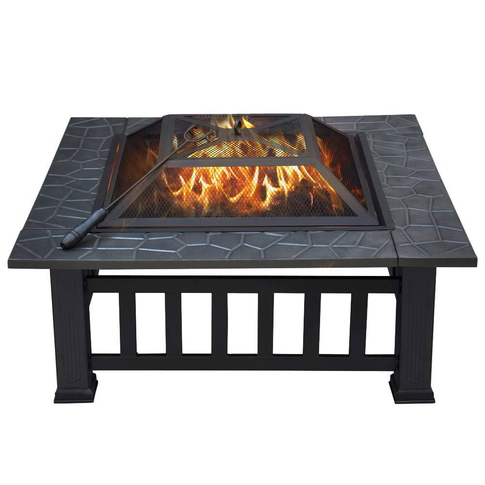 Yaheetech 32in Outdoor Metal Firepit Square Table Backyard Patio Garden Stove Wood Burning Fire Pit with Spark Screen, Log Poker and Cover by Yaheetech