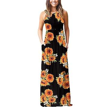 a2b80d26f84d Womens Boho Floral Maxi Dress Casual Summer Sunflower Print Evening Party  Beach Dresses Ankle-Length