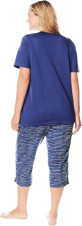 Womens Plus Size Graphic Tee Capri Pj Set Dreams /& Co