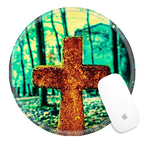 Luxlady Round Gaming Mousepad 33228465 Old and forgotten cross gravestone in dark mystical cemetery for $<!--$9.98-->
