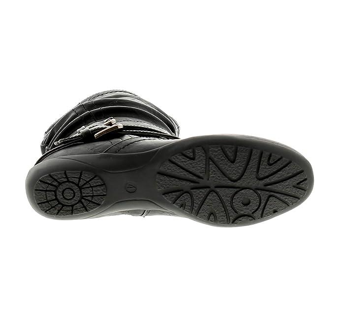 Mujer/Mujer Negro Cuero Sintético Botines con 2 Correas & Hebillas a Tobillo Negro - GB Tallas de 3-9 - Negro, 36: Amazon.es: Zapatos y complementos