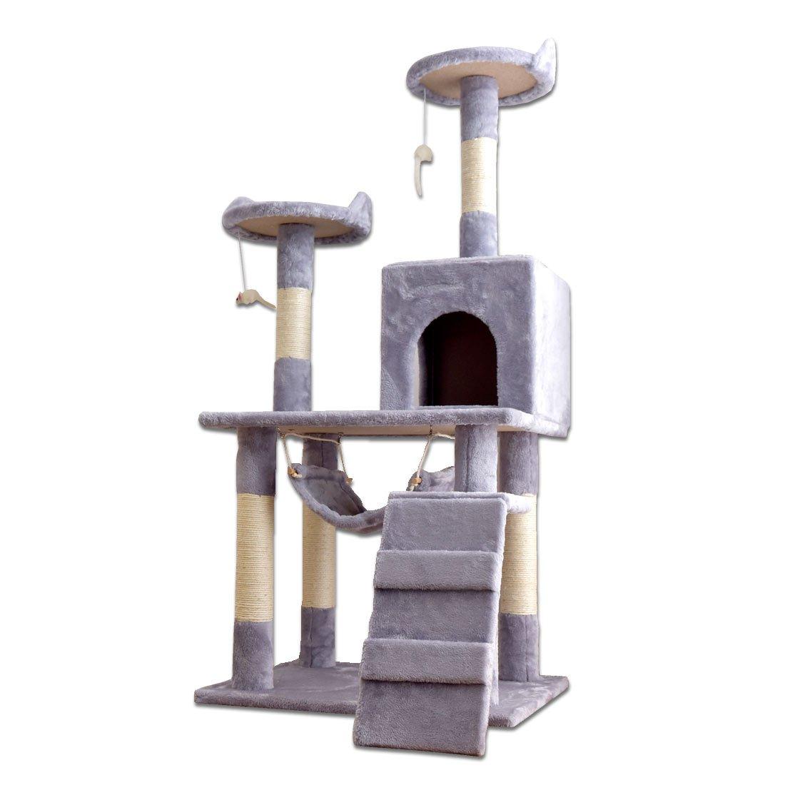 タンスのゲン キャットタワー 支柱3本 151cm 据え置き 爪研ぎ 麻紐 32000006 01 B076MYDD6C グレー 1.据え置きタイプ【高さ130cm】 1.据え置きタイプ【高さ130cm】|グレー