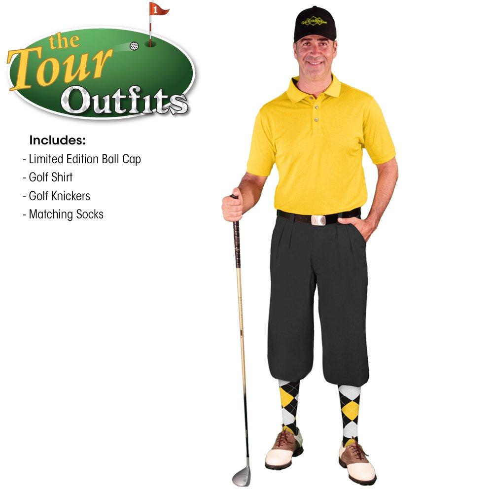 メンズゴルフKnicker Outfit – ブラックマイクロファイバーゴルフKnickers、Limited Editionボールキャップ、over-the-calfアーガイルソックス、イエローマイクロファイバーゴルフシャツ Shirt Size - 3XL Waist-32 B074KPPQY6