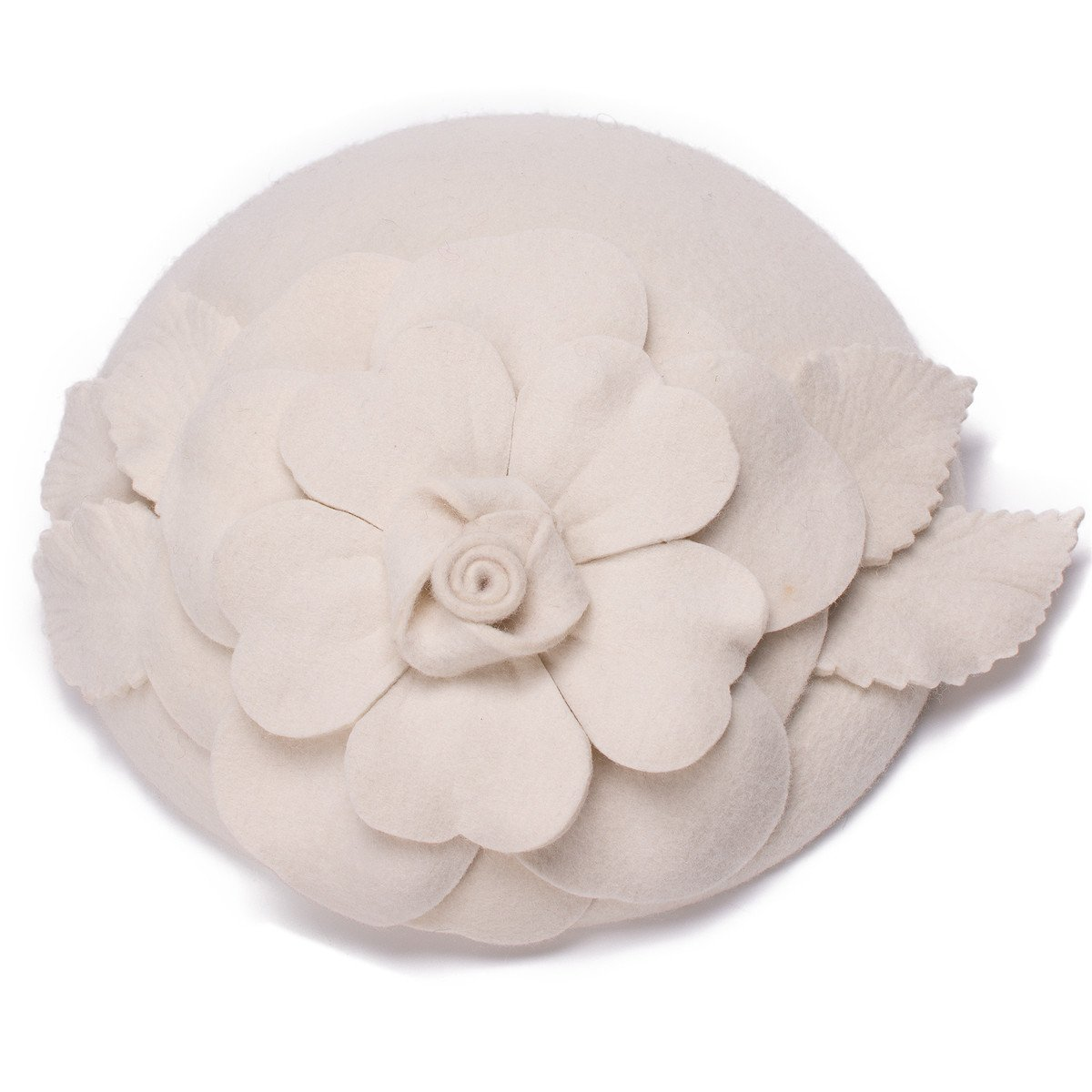 Flower Womens Dress Fascinator Wool Pillbox Hat Party Wedding A083 (Ivory)