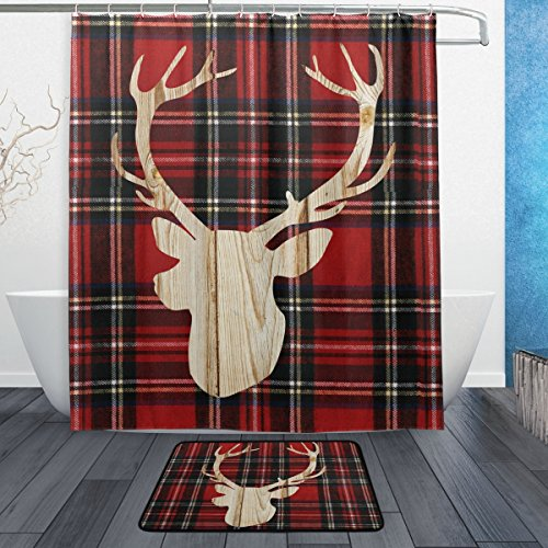 ALAZA Bathroom Set Bath Rugs, Lumberjack Deer and Plaid Fabric Shower Curtain 60x72 and Decorative Matching Mat 23.6x15.7 inch