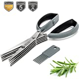 Herb Scissors – 5-blade Kitchen Scissors with Stainless Steel Blades and Cleaning Comb