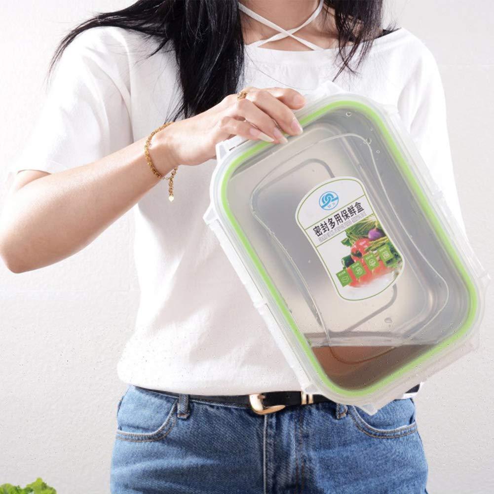 Feli643Bruce 3//4//7//10//12 L contenedor de almuerzo sin BPA Fiambrera rectangular de acero inoxidable a prueba de fugas contenedores de almacenamiento de alimentos con tapas 3 L plata