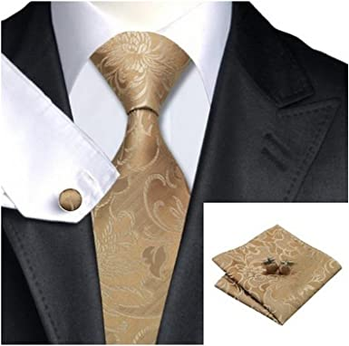 Beige Brown Floral Classic Silk Necktie Tie Hanky and Cufflinks Set For Men