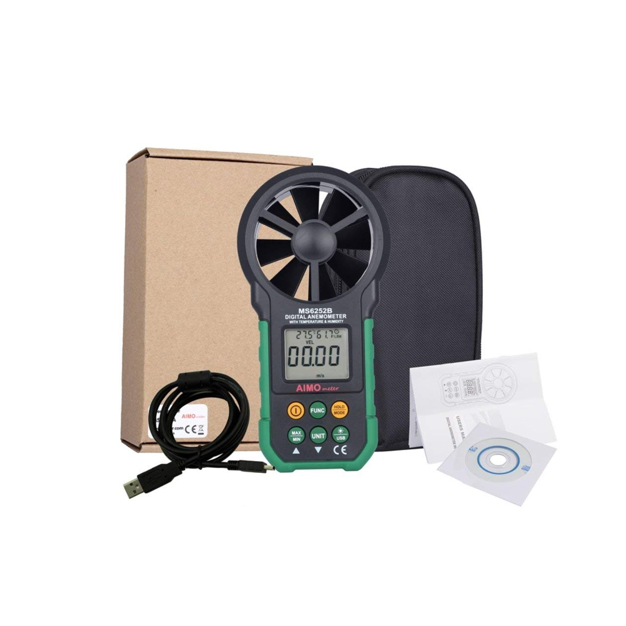 Heraihe Pantalla LCD Temperatura de luz de Fondo Velocidad del Viento Humedad Anemómetro Digital