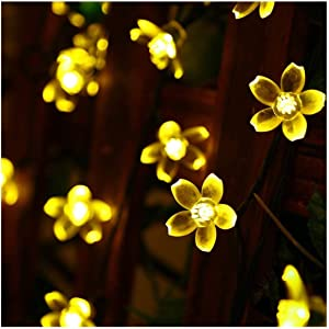 SEMILITS Christmas Decorations String Lights Outdoor Waterproof 23ft 50 LED Flower Solar Fairy Light for Tree Garden Fence Patio Yard Halloween Warm White
