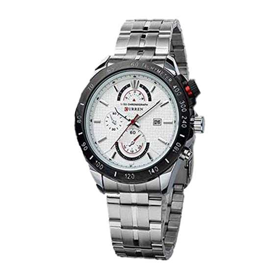 Hombres del reloj – Curren Fashion dial grande falsos tres hombres reloj de acero inoxidable de