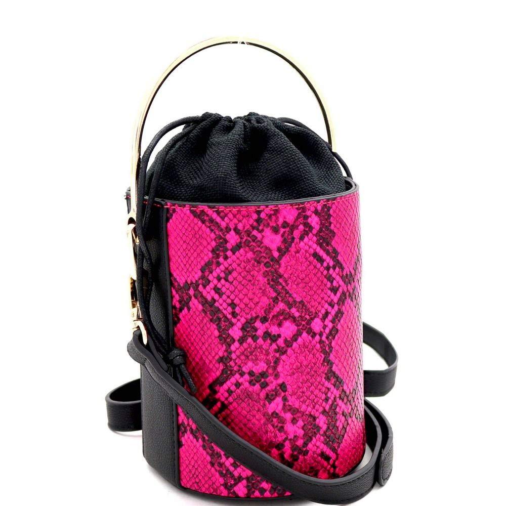Snake Print Barrel Bucket Shape Vegan Leather Small Satchel Clutch Shoulder Bag