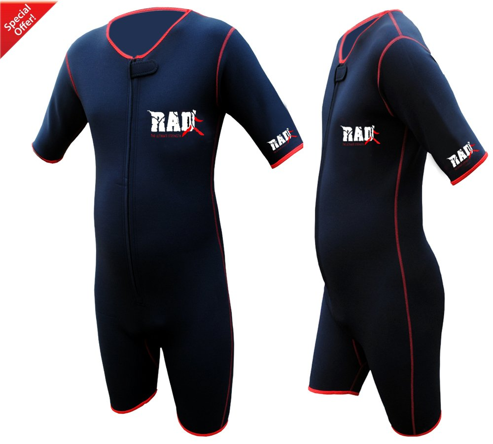 RAD Ultimate Strength Heavy Duty Sauna Sweat Suit Gym Boxing MMA Weight Loss Slimming Shorts (Black, Medium)