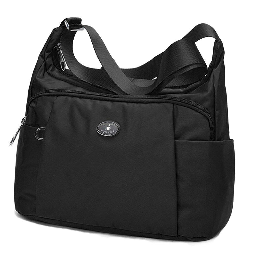 Fouvor Crossbody Hobo Bag Lightweight Waterproof Travel Shoulder Bag (278603 Black)