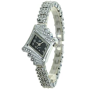 Ladies Watch Brand New Jewelry Girl Silver Bangle Clock Crystal Ring  Fashion Bling Diamond Rejores Prismatic 9060db26ce61