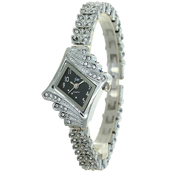82acd853b Ladies Watch Brand New Jewelry Girl Silver Bangle Clock Crystal Ring Fashion  Bling Diamond Rejores Prismatic