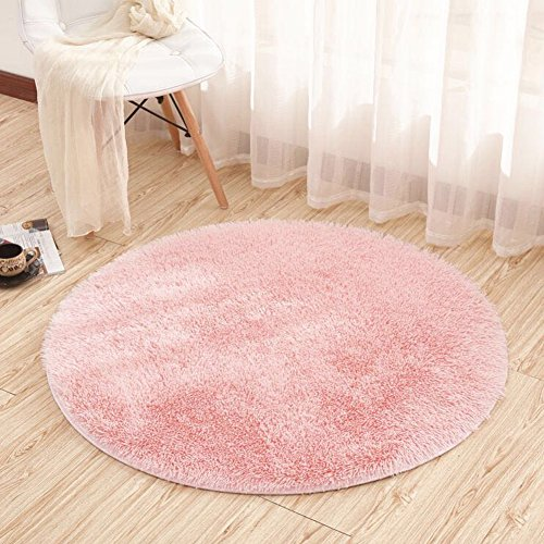 Noahas 4-Feet Luxury Round Area Rugs Super Soft Living Room Bedroom Carpet Woman Yoga Mat, Pink
