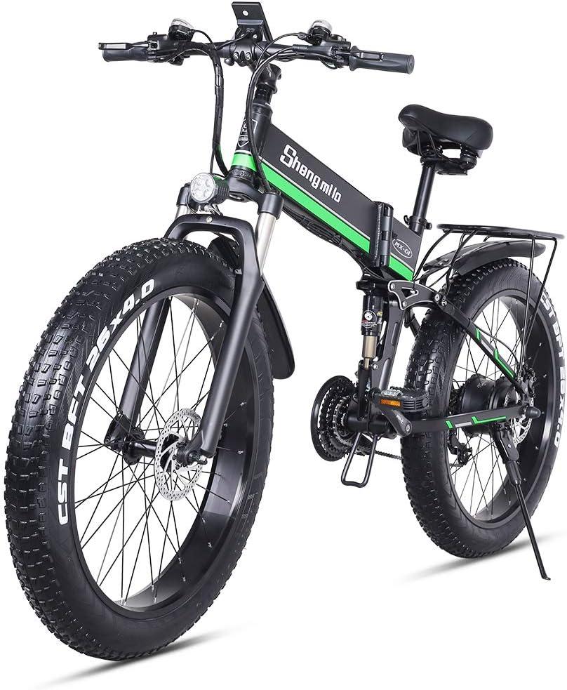 Shengmilo 1000W Grasa Bicicleta de Montaña Eléctrica 26inch E-Bike 48V 13Ah (e-Bike Verde (batería incluida)): Amazon.es: Deportes y aire libre