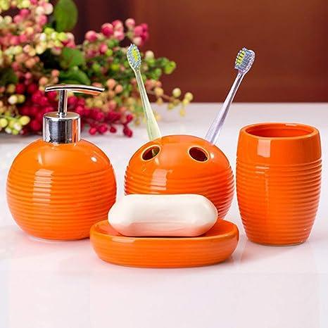 QUALY Soporte para cepillo de dientes color blanco pez naranja coral