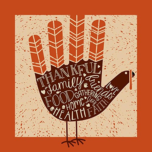 Wallmonkeys WM363135 Thanksgiving Card Design with Theme Words and Cute Hand Print Turkey Peel and Stick Wall Decals (30 in H x 30 in W)